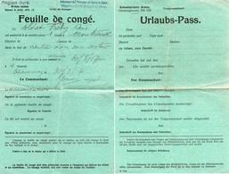 """Document - """" Feuille De Congé-  Internement Des Prisonniers De Guerre ,en SUISSE""""- - 1939-45"""