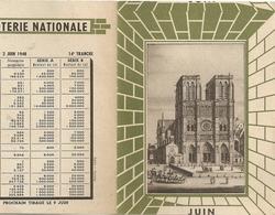 Calendrier Loterie Nationale 1948 Tirage 2 Juin 1948 - Billets De Loterie