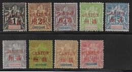 CHINE (CANTON) - YVERT N° 1/3+5+7/9+11+13 * MH - COTE = 147 EUR. - Unused Stamps