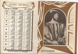 Calendrier Loterie Nationale 1950 Tirage 13 Septembre 1950 - Billets De Loterie