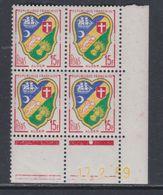France N° 1195 XX :  Blason D'Alger En Bloc De 4 Coin Daté Du 17 . 2 . 59 : 1 Point Blanc Sans Charnière, TB - 1950-1959