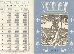 Calendrier Loterie Nationale 1951 Tirage 14 Fevrier  1951 - Billets De Loterie