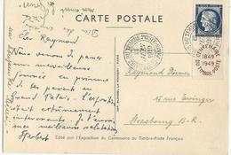 CARTE POSTALE 1949 AVEC TIMBRE A 25 FR  CERES CENTENAIRE DU TIMBRE POSTE - Storia Postale