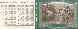 Calendrier Loterie Nationale 19 52 Tirage  3 Decembre 1952 - Billets De Loterie