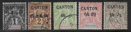 CHINE (CANTON) - YVERT N° 17+18+20+21+22 OBLITERES - COTE = 30 EUR. - Oblitérés