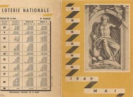 Calendrier Loterie Nationale 19 49 Tirage 4 Mai  1949 - Billets De Loterie