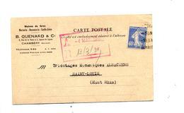 Carte Fragment Flamme Daguin Chambery Sur Semeuse - Marcophilie (Lettres)