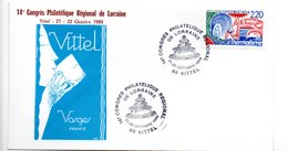 Lettre Premier Jour  / 14 ème Congrès Philatélique Régional De Lorraine  / Vittel  / 21.22-10-1989 - 1980-1989