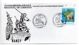 Lettre Premier Jour  / 15 ème Congrès Philatélique Lorraine  / Nancy  / 27.28-10-1990 - 1990-1999