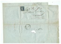 LETTRE DEPART TOULON SUR MER Pour AURIOL (B D R  ) 18 AOUT 1851 - Marcophilie (Lettres)