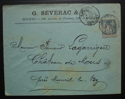 Béziers 1900 G. Sévérac & Cie 129, Avenue De Pézenas, Lettre Pour Le Château De Mus Près Murviel Les Béziers - Postmark Collection (Covers)