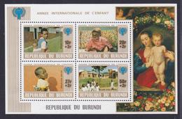 BURUNDI BLOC N°  106A ** MNH Neuf Sans Charnière, TB, Année De L'enfant UNICEF 1979 (CLR476) - Burundi