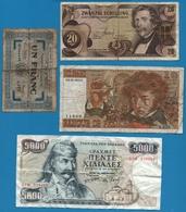 LOT 4 X BILLETS BANKNOTES - Münzen & Banknoten