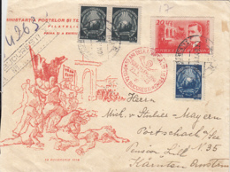 85622- VICTORY DAY, END OF WW2 ANNIVERSARY, REGISTERED COVER FDC, 1949, ROMANIA - FDC