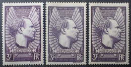 R1513/90 - 1937 - MERMOZ - N°338 + 338a + 338b NEUFS** - Cote (2020) : 480,00 € - Unused Stamps
