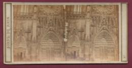 100320B - PHOTO STEREO BERTRAND Paris - BORDS DU RHIN 1865 STRASBOURG Portail De La Cathédrale - Photos Stéréoscopiques