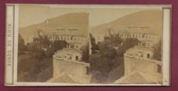 100320B - PHOTO STEREO BERTRAIND Paris - BORDS DU RHIN ALLEMAGNE BADE WURTEMBERG HEIDELBERG Ruines Château - Photos Stéréoscopiques