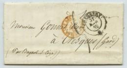 LàC 1852 Chambéry à Tresques (Gard) . Entrée Rouge Piémont-Sardaigne Par Pont De Beauvoisin . Cursive Connaux Au Dos . - 1849-1876: Classic Period