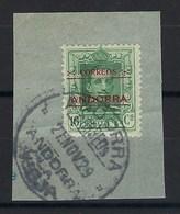 Andorre Espagnol - N° 3 Oblitéré Sur Fragment - Dentelé 14 Au Lieu De 11 1/2 , 13 1/2, RARE - Andorre Espagnol