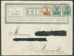 OCC. 5 Cent. (paire) + 15 Cent. S/15 Pfg, Obl; Dc Postüberwachungsstelle Enveloppe Ill. (TIETZ Magasin à BRUGES) Du 27.7 - Weltkrieg 1914-18