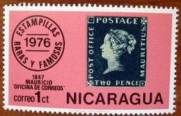 1976 NICARAGUA Filatelia Francobolli Rari Famosi Mauritius N°2 - 1c  Nuovo Con Descrizione Nel Retro - Nicaragua