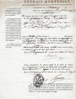 1806 MAYENCE - EXTRAIT MORTUAIRE De François BOURGEOIS Grenadier De La 3° Cie 3° Bat 51ème Régiment De Ligne - Historische Dokumente