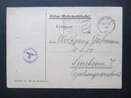 DR Feldpost 2.WK 1944 Sehr Kleiner FP Stempel Durchmesser 20mm Eilige Wehrmachtsache Wehrbezirkskommando Heidelberg - Allemagne
