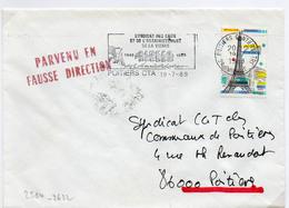 France N° 2580 Y. Et T. Vienne Poitiers CTA Flamme Illustrée Du 19/07/1989 Sur Lettre Parvenu En Fausse Direction - Marcophilie (Lettres)
