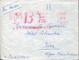 52024 Madagascar, Red Meter Freistempel Ema, 1955 Tananarive, 13 Ans Dans L'ile - Lettres & Documents