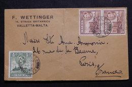MALTE - Enveloppe Commerciale De Valletta Pour Paris En 1939, Affranchissement Plaisant - L 55487 - Malta (...-1964)