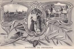 """13. ARLES ( ENVOYÉ DE). CPA. RARETÉ. CARTE MULTI VUES STYLE ART NOUVEAU. """" SOUVENIR DE PROVENCE """".ANNEE 1907 + TEXTE - Arles"""