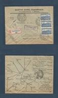 CZECHOSLOVAKIA. 1927 (12 Oct) Steinschonau - Germany, Hamburg (13 Oct) Registered Multifkd Reverse Map Ilustrated Envelo - Czechoslovakia