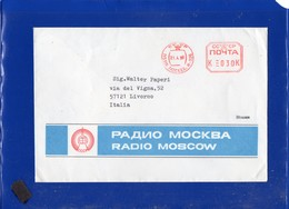 ##(DAN203)-URSS 1986-30k Red EMA Cancel On Radio Moscow Cover To Italy - Marcophilie - EMA (Empreintes Machines)