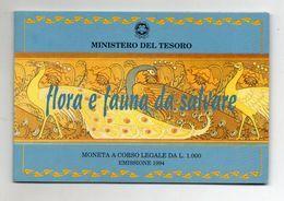 Italia - 1994 - 1000 Lire - Flora E Fauna Da Salvare - FDC - Argento 835 - In Folder - (FDC20476) - 1 000 Lire