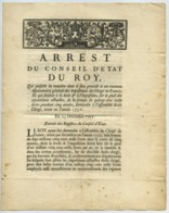 Arrêt Du Conseil D'Etat Du Roy 23 Déc. 1751 . Imposition Du Clergé De France . Signé Phélypeaux . Arrest . Louis XV . - Décrets & Lois