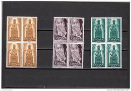 España Nº 1192 Al 1194 En Bloque De Cuatro - 1951-60 Neufs