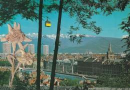 38, Grenoble. Quais De L'Isère. Téléphérique De La Bastille Et Chaîne De Belledonne (Edelweis) - Grenoble