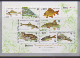 UKRAINE , 2019, MNH,FISH, FRESHWATER FISH,  SHEETLET - Fishes
