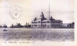 EGYPT : VINTAGE BLACK & WHITE PICTURE POST CARD : PORT SAID, SUEZ CANAL OFFICE : YEAR 1931 : POSTED FOR FRANCE - Egypt