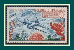 Polynésie N° PA 14 ** MNH (cote 106 €) Chasse Sous Marine Tuamotu 1965 - Unused Stamps