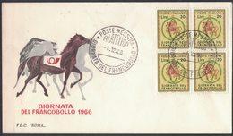 IZ553   ITALIA - FDC Roma - 1966 - GIORNATA DEL FRANCOBOLLO - Quartina - 6. 1946-.. Republic