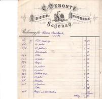 HAGENAU C DEBONTE ADLER APOTHEKE PHARMACIE ANNEE 1896 FACTURE DOUBLE - France