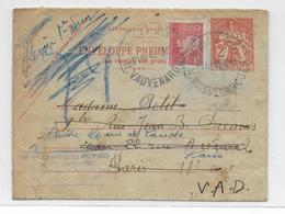 PNEUMATIQUE => REBUTS - 1940 - ENVELOPPE CHAPLAIN + PETAIN De PARIS 23 - ANNOTATIONS Du FACTEUR Au DOS - Pneumatiques