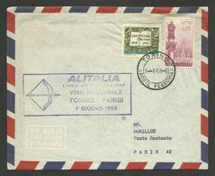 Lettera - Busta / Volo Inaugurale ALITALIA / 01.06.1958 TORINO - PARIGI - PARIS - Luchtpost