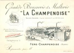 "51 Fère-Champenoise - Grande Brasserie & Malterie ""La Champenoise"" TBE Carte De Correspondance Ou Carte Publicitaire - Alcohols"