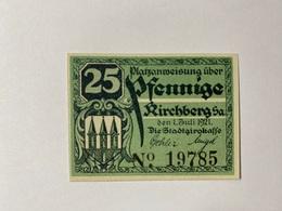 Allemagne Notgeld Kirchberg 25 Pfennig - [ 3] 1918-1933 : République De Weimar