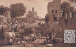 BOISSIEU, MARCHE D'ANIMAUX. MUSEE DE LYON. POSTALE OBLIT PAQUEBOTE STEAMER NANCY 1910 TBE -LILHU - Malerei & Gemälde