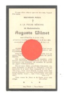 Faire-part De Décès De Mlle Augusta WILMET - PONTILLAS 1913 / PETIT - WARET 1929  (b275) - Décès