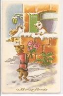 AN 1231 , OLD   FANTASY POSTCARD  ,  FINE ART , DOGS  , BONNE ANNEE - Honden