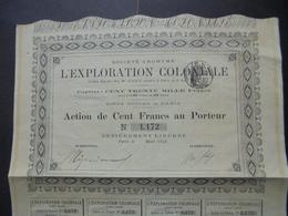 FRANCE - L'EXPLORATION COLONIALE - ACTION DE 100 FRS - PARIS 1896 - NOUVEAU - Actions & Titres